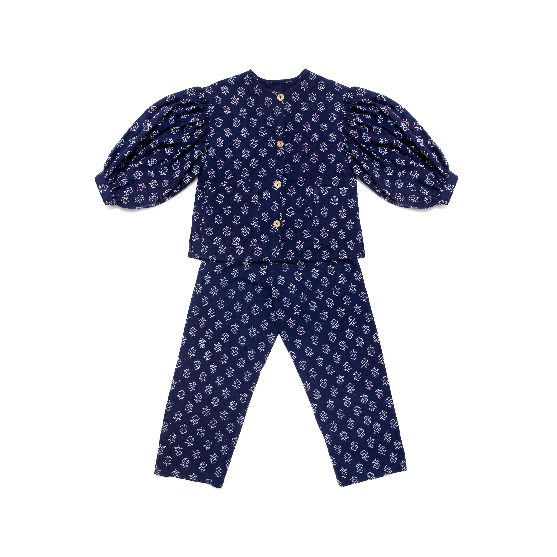 Navy floral pyjamas